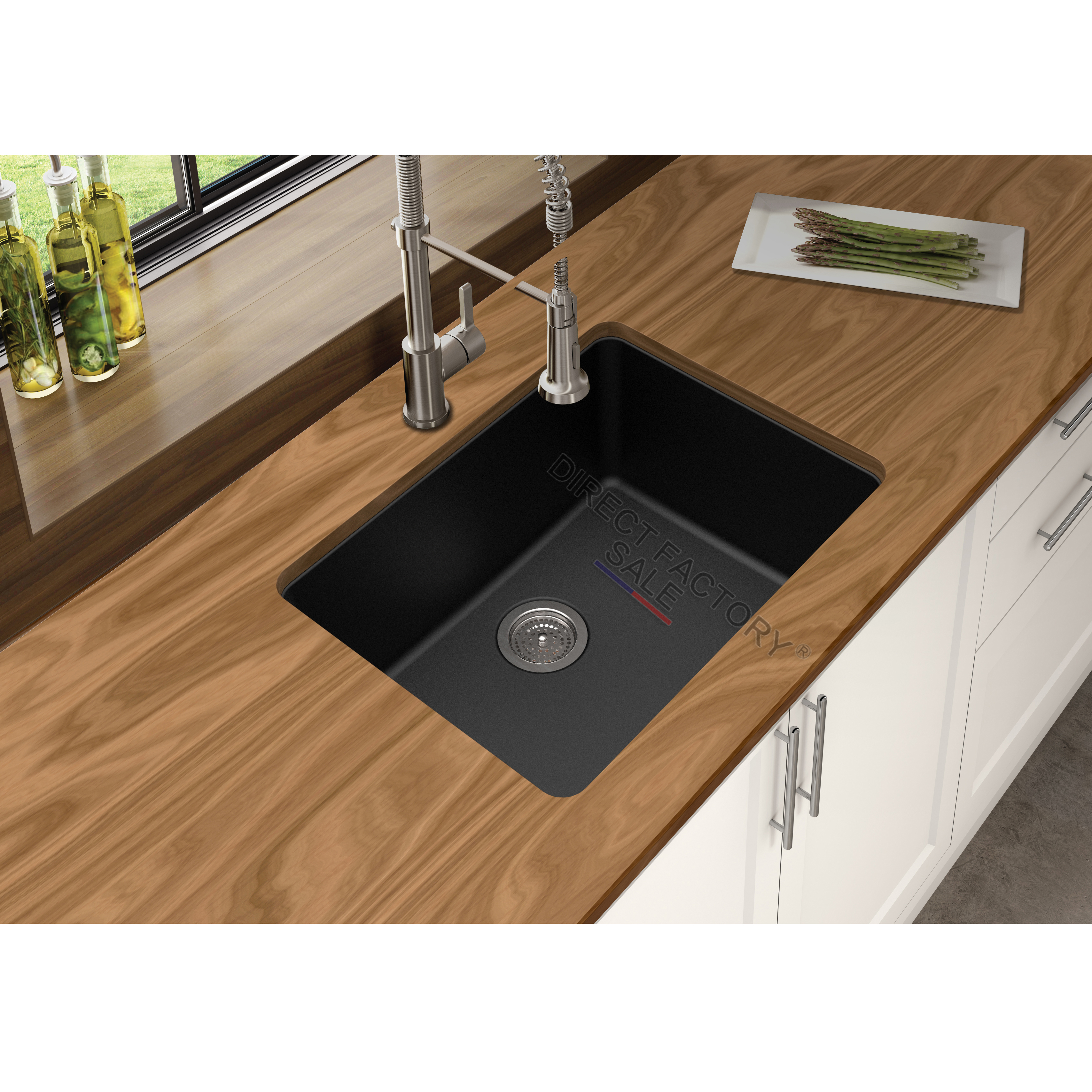 Black White Granite Stone Kitchen Laundry Sink Single