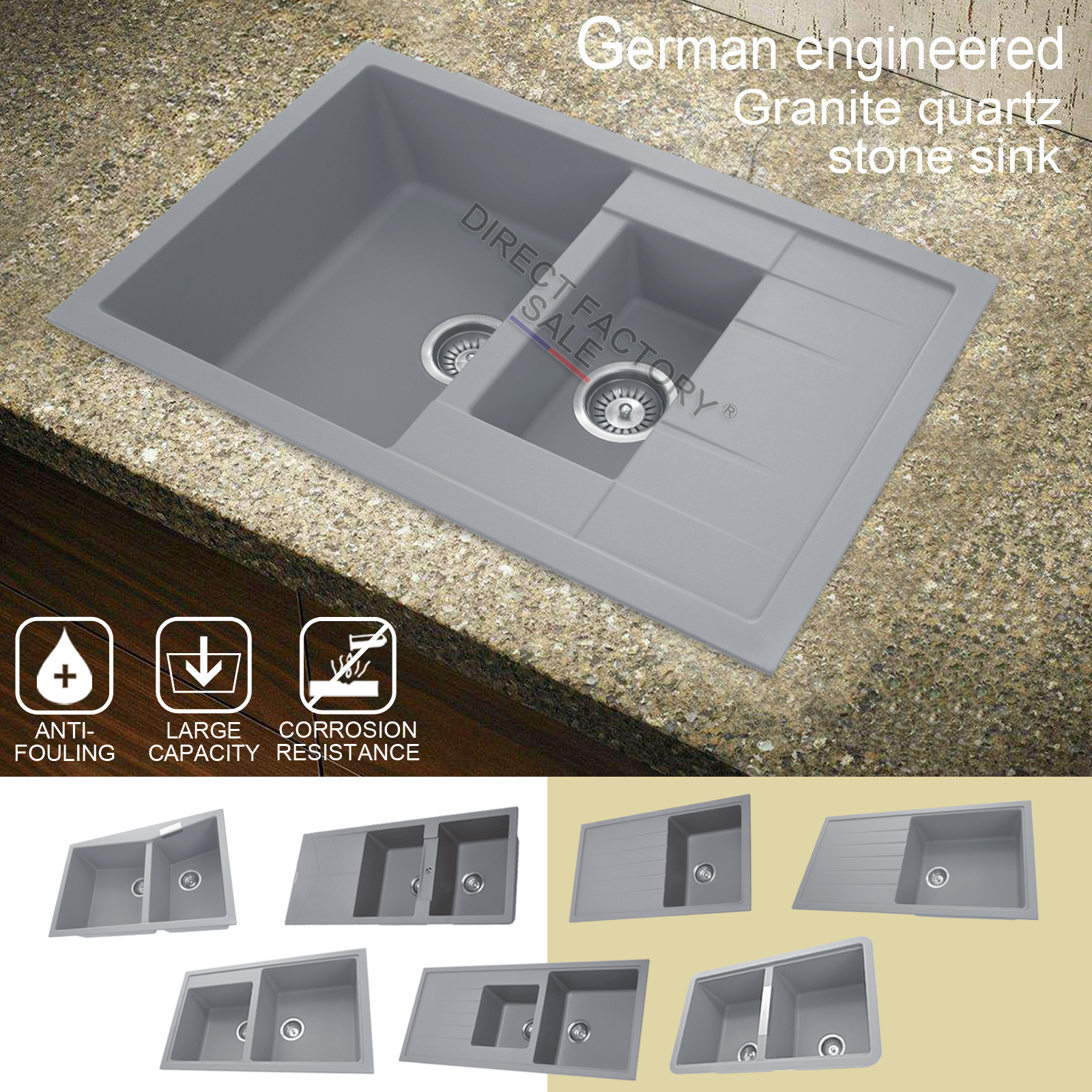 Details about concrete grey granite stone single double bowl drainboard kitchen sink overflow